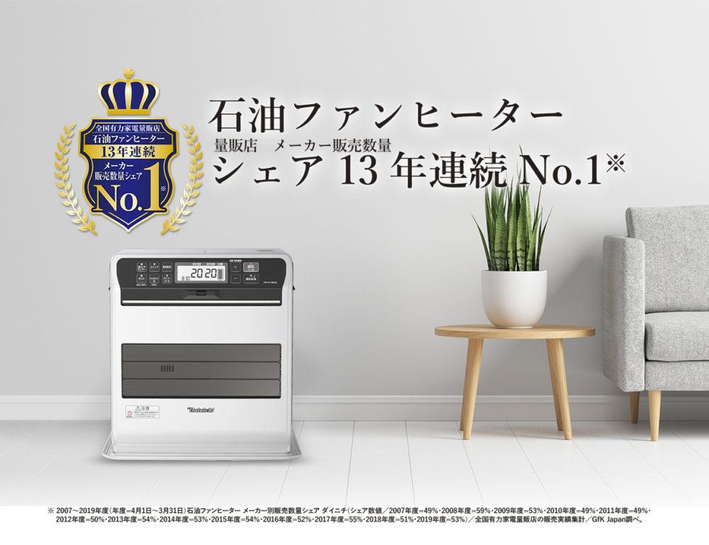 石油ファンヒーターシェア13年連続No.1